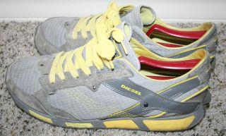 RARE Diesel Grey Yellow Lawndale Sneakers Sz 10 5 Vintage Shoes