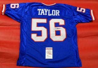 Lawrence Taylor Autographed New York Giants Blue Jersey Lt JSA Last