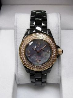 Le Chateau Womens Black Ceramic Watch with Stones and Blue Pearl Face