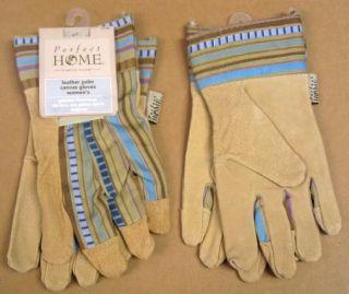 Pair Ladies Leather Canvas Work Garden Gloves