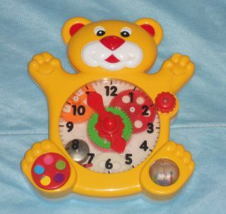 Vintage 1989 Learn to Tell Time Bear Play Clock Educational Baby Tot