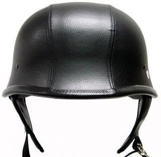 Dot German Black Leather Motorcycle Half Helmet Street Cruiser Biker s
