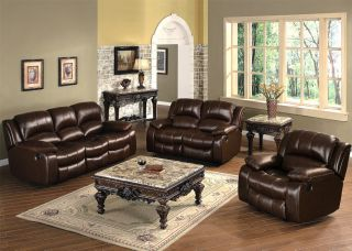 3pc Casual Brown Leather Sofa Loveseat Chair Recliner Living Room Set