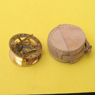 18c Usable Solid Brass Sundial Compass w Leather Box