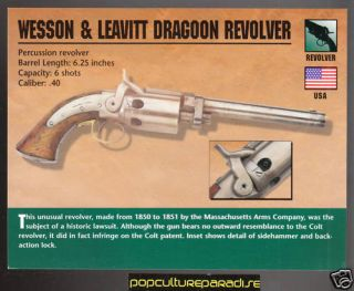 Wesson Leavitt Dragoon Revolver Gun Classic Firearms Card Smith Wesson