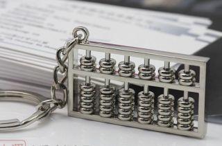Novelty Korean Style Abacus Key Ring Chrome Chain Keyfob Chains Gift