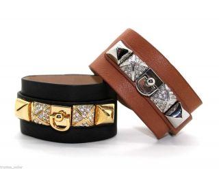 Swarvoski Crystals Pave Studs Wide Leather Wrap Bracelet Cuff