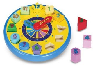Shape Sorting Clock Wooden Learn To Tell Time Puzzle Kids Teaching