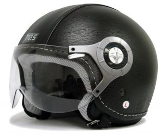 Black Leather Motorcycle Open Face Jet Pilot Helmet L