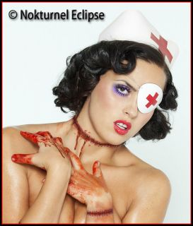 White Leather Eye Patch Red Cross Nurse Halloween Masquerade Costume