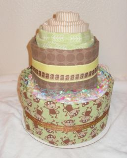 Monkey Business 2 Tiered Diaper And Receiving Blanket Cake Perfect