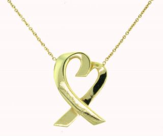 Tiffany Co 18kt Yellow Gold Heart Pendant Necklace