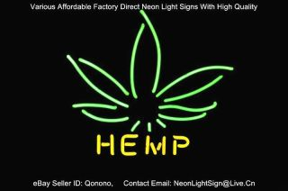 Hemp Pot Leaf Plant Logo Pub Store Display Beer Bar Real Neon Light
