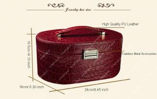 PU Leather Makeup Train Case Cosmetic Organizer Travel Oval J Ewelry
