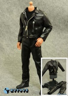 ZY Toys 1 6 Terminator T800 Black Leather Costume Hot Pants Jacket