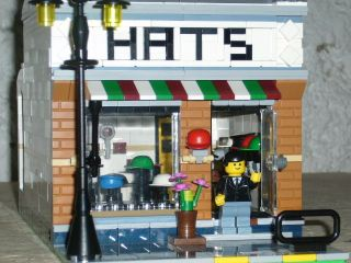 LEGO TOWN MODULAR CUSTOM HAT SHOP, 4 STOREY TOWN HOUSE goes with 10182