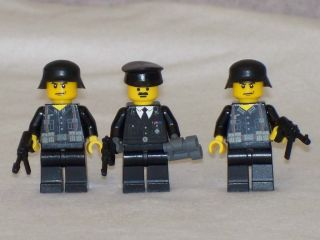 Lego 3 Minifig WW2 Black Uniform German Soldiers Set with Weapons