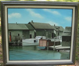 Leland Michigan Eugene Schmidt Original Rare Oil Painting Circa 1987