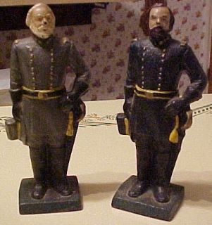 Civil War Cast Iron Bookends Doorstops – Generals Lee Grant