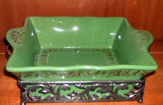 Temp tations VERONA 1 5QT SQUARE BAKER w RACK NEW GREEN w PLASTIC SNAP