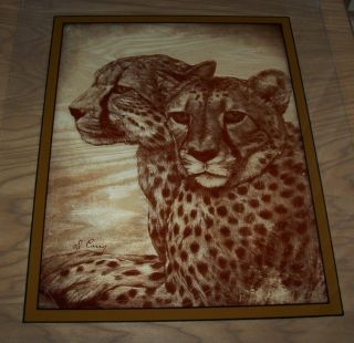 Vintage Reversed Painting of 2 LEOPARDS16X20 by Wildlife Artist Dennis