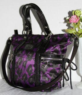 Coach Ocelot Leopard Print Purple Black Tote Hobo Bag Purse
