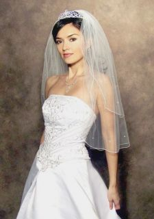 Ivory 25 30 Rhinestone Pearl Bridal Wedding Veil New Pencil Edge