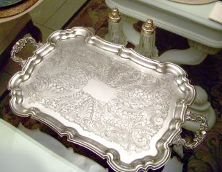VINTAGE LEONARD SILVER E.P. FOOTED BUTLERS SERVING TRAY WITH HANDLES