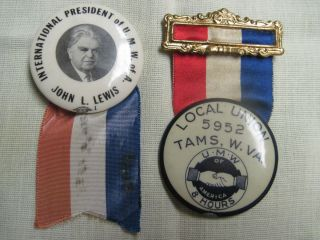 Tams WV Coal Mine Miners Pin Back John L Lewis U M w of A 1948