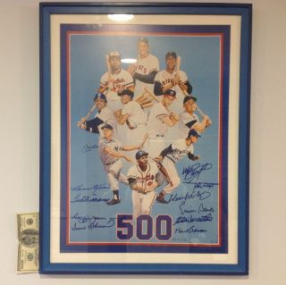 Ron Lewis JSA COA 20X27 500 HOME RUN signed Mickey Mantle Ted Williams