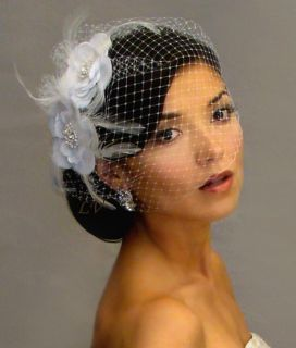 WHITE 2 FLOWERS Feather Fascinator Hair Clips BIRDCAGE Bridal VEIL 21