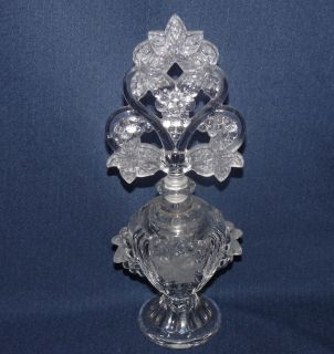 Crystal Glass Perfume Bottle Embossed Grape Design Satin Leaves