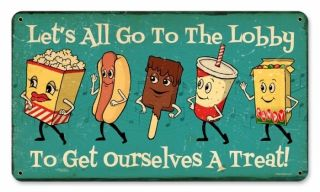 Lets All Go to The Lobby Dancing Snacks Cute Retro Metal Sign Drive