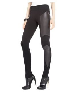 BN BCBG Mari Lewis Black Faux Leather Panel Designer Leggings XS s