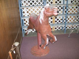 Antique Coca Cola Metal with Stand Carousel Horse Ready for