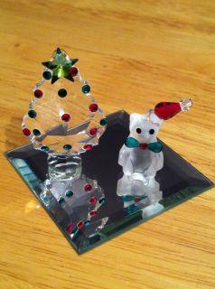 SWAROVSKI CRYSTAL IRIS ARC CHRISTMAS TREE AND SANTA BEAR ON MIRROR