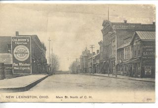 New Lexington Ohio Downtown Street Scene Vintage Postcard Devitts