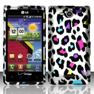 For LG Lucid 4G Rubberized Hard Protector Case Phone Cover Rainbow