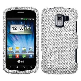 Silver Crystal Diamond Bling Hard Case Phone Cover for LG Enlighten
