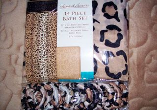 14pc SAFARI LEOPARD BATHROOM SET Fabric Shower CURTAIN HOOKS RUG Bath