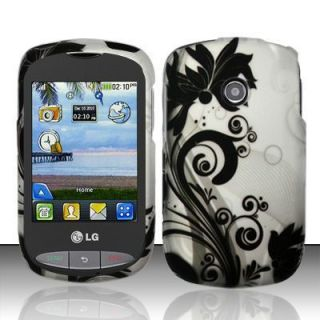Black Vines LG 800G Rubber Coating Hard Case Cover Tracfone