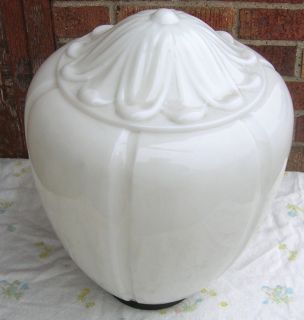 Vintage Large Milk Glass Street Light Shade Globe Art Deco Lines