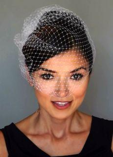 White Versatile Birdcage Wedding Bridal Veil Wear Multiple Ways 21