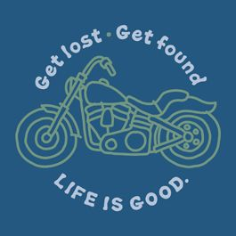 Life Is Good Mens Motorcycle Long Sleeve Crusher Tee in Blue Get Lost