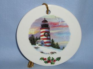 Lighthouse Christmas Tree Ornament Porcelain Decal RW
