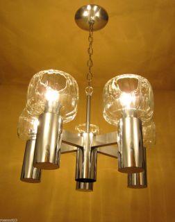 Lighting 1970s Mod chrome chandelier Likely Lightolier glass shades