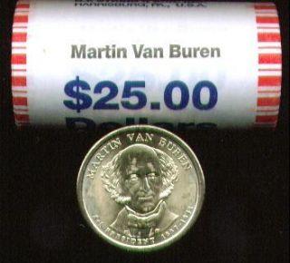2008 D MINT BUncirculated MARTIN VAN BUREN $25 GOLD DOLLAR ROLL ~HEAD
