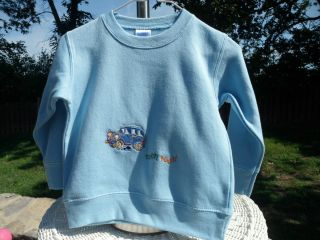 Toddler Size 2 Light Blue Rabbit Skins Sweatshirt with Embroidered Car