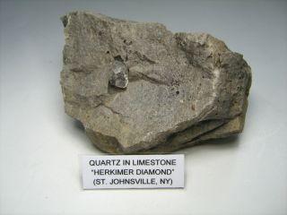Herkimer Quartz Crystal in Limestone St Johnsville NY