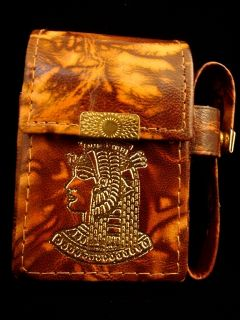 Genuine Leather Nekhbet Cigarette Case w Lighter Holder Sale